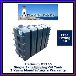 1250ltrs Rectangular Single Skin Platinum Domestic Heating Oil Storage Tank