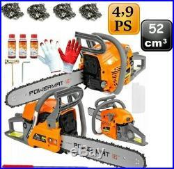 Benzin Kettensäge 52cc Motorkettensäge 4,9PS Kettensägen 52 ccm Motorsäge NEU