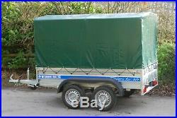 Car Trailer 9x4 Twin Axle Al-ko Canvas Cover Box Trailer 750kg Brand New