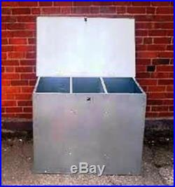 Galvanised Feed Bins With Three Compartments. Horse Chicken Dog Cat, Storage