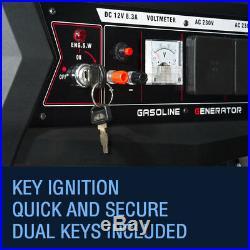 Portable Petrol Generator 6500W-E 3.4 KVA 8HP Quiet Power Electric Key Start