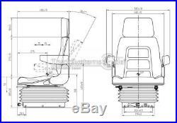 Schleppersitz Cross-Mec mechanisch gefedert Traktor Baumaschinen-Sitz in PVC